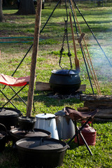 Cooking outside in Cast Iron pot over a fire