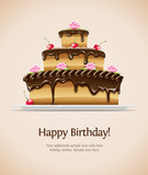 sweet chocolate cake for birthday. Vector illustration