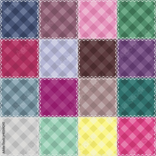 patchwork background with checked patterns