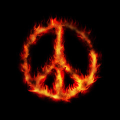 burning hippy antiwar peace sign