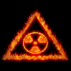 burning nuclear danger sign