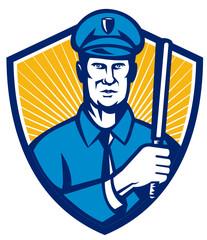 Policeman Police Officer Baton Shield Retro