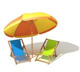 Beach umbrella and sunbeds