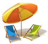 Beach umbrella and sunbeds