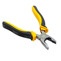 yellow pliers open isolated on white background (clipping path)
