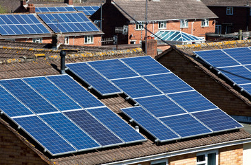 Solar Panels on many residential roofs