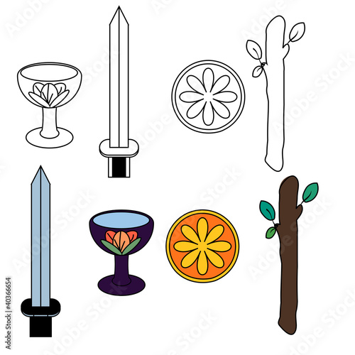 Tarot suit symbols - silhouette and colored