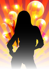 Abstract Party Background with Beautiful Woman