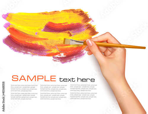 Abstract color background with hand. Vector