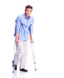 Man with crutch.