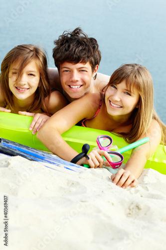 Friends with swimwear