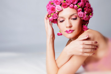 Girl with flower hairstyle