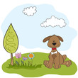 spring greeting card with dog