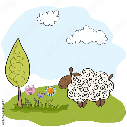 spring greeting card with sheep