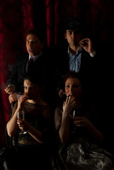 Retro families smoking in darkness
