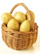 Potatoes in basket, isolated