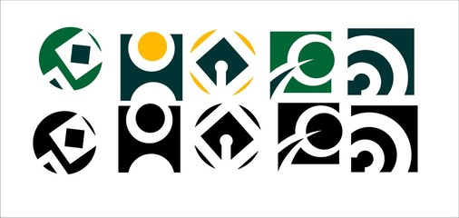 Different shape and colour abstract icon