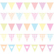 5 Seamless Festoons Different Pattern Pastel