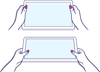 Woman's hands keeps tablet
