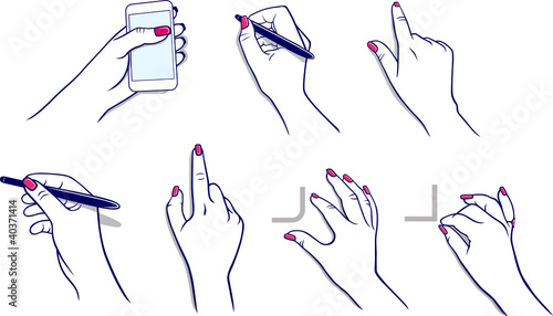 Hands using tablet,  media player, stylus