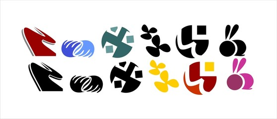 Different type and colour elements icon
