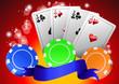 Poker avec jetons et cartes