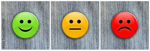 Smile / frown badges on denim