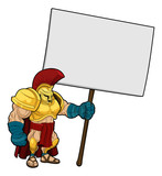 Tough Spartan or Trojan holding sign board poster