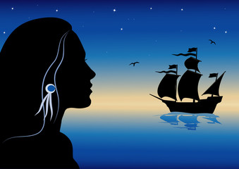 vector illustraion with girl and caravel