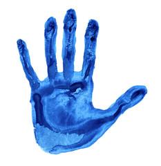 Blue handprint