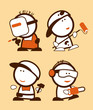 Set of construction professions funny peoples icons