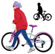 Small girl walking with bike