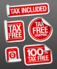 Tax free shopping stickers set