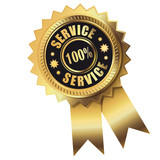 100% Service - Gold Button