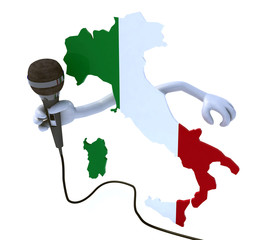 Italy with hands and microphone