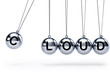 Newtons cradle with five balls - cloud