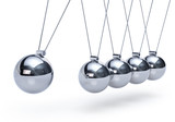Newtons cradle with five balls - perspective view - 40377436