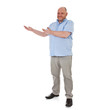 Charismatischer Mann mittleren Alters deutet zur Seite