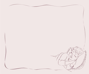 Vector drawing.  Baby sleep in bed