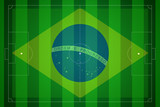 Soccer field with Brazil map world cup 2014.