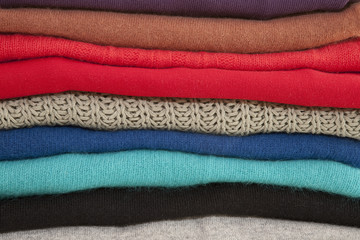 Folded and Stacked Sweaters Close-up
