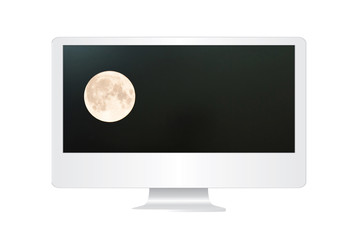 Super moon in the computer monitor.