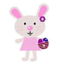 Różowy Easter bunny z jaj na białym