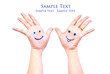 Smile on the hand for happy concept.