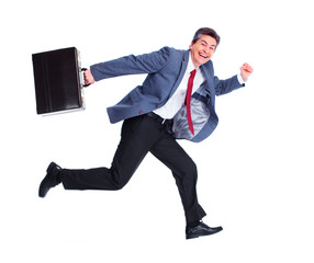 Happy running businessman.