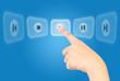 Hand pushing Play Icon.