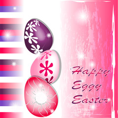 Happy Eggy Easter in pink and purple