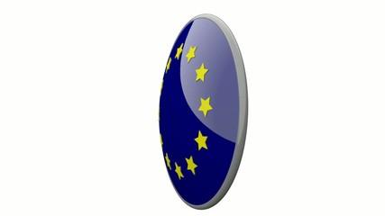 Sich drehende Scheibe mit den Flaggen der EU und Belgien