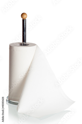 Kitchen paper towels on holder, it is isolated on white - 40383628