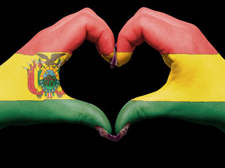 Heart and love gesture by hands colored in bolivia flag during f